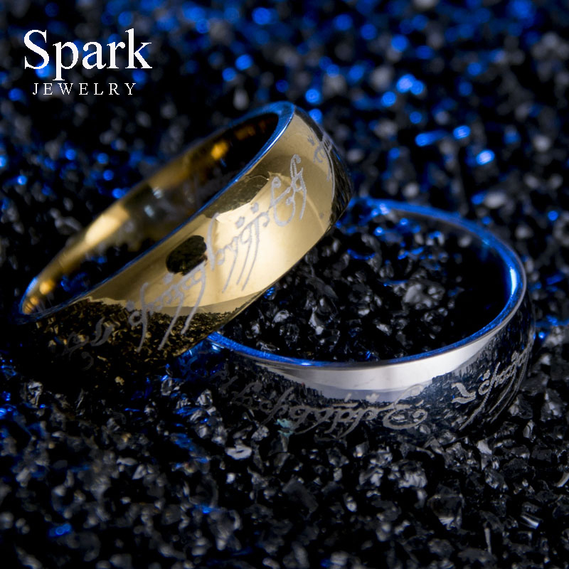 REAL Titanium Steel Hobbit Letter Rings For Men Black Stainless Steel the one ring 6MM Best Selling Product