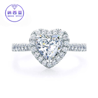 Solid 18K Gold Solitaire 0.18CT Heart Natural Round Diamond Rings for Women Wedding Engagement Luxury Bridal 's Jewelry