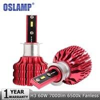 Oslamp H3 светодио дный автомобилей лампочки светодио дный чипы авто светодио дный фара 60 W/set 7000LM 6500 К все-в-одном светодио дный H3 огни автомобил...