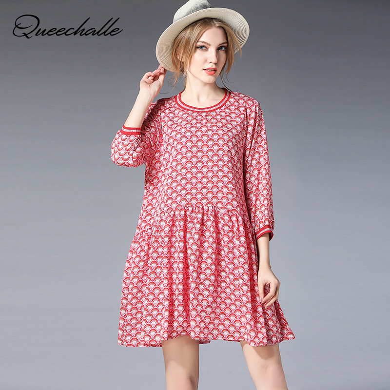 Queechalle XL XXL XXXL 4XL Plus Size Dress Fashion Print A Line Dresses for Women Half