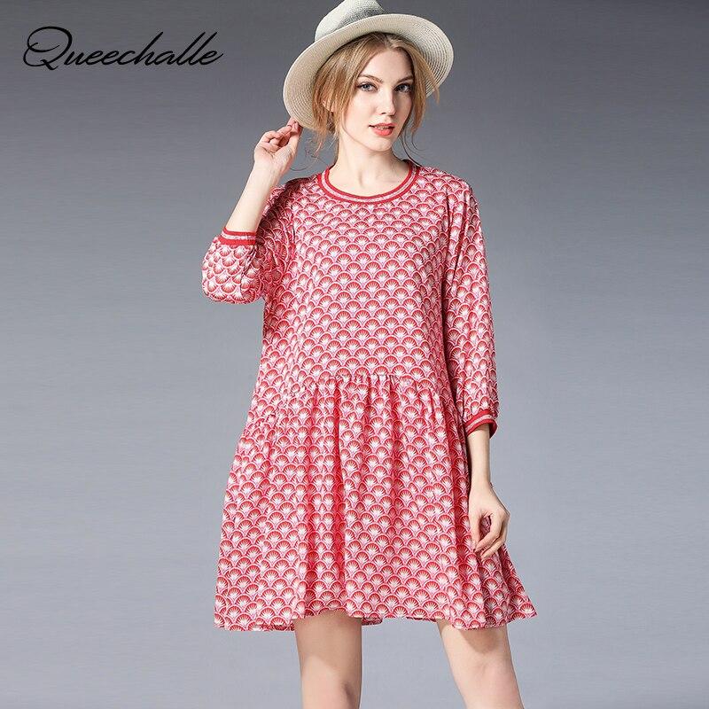 Queechalle XL XXL XXXL 4XL プラスサイズドレスファッションプリント A ラインのドレス女性半袖プリーツドレス女性  グループ上の レディース衣服 からの ドレス の中 1