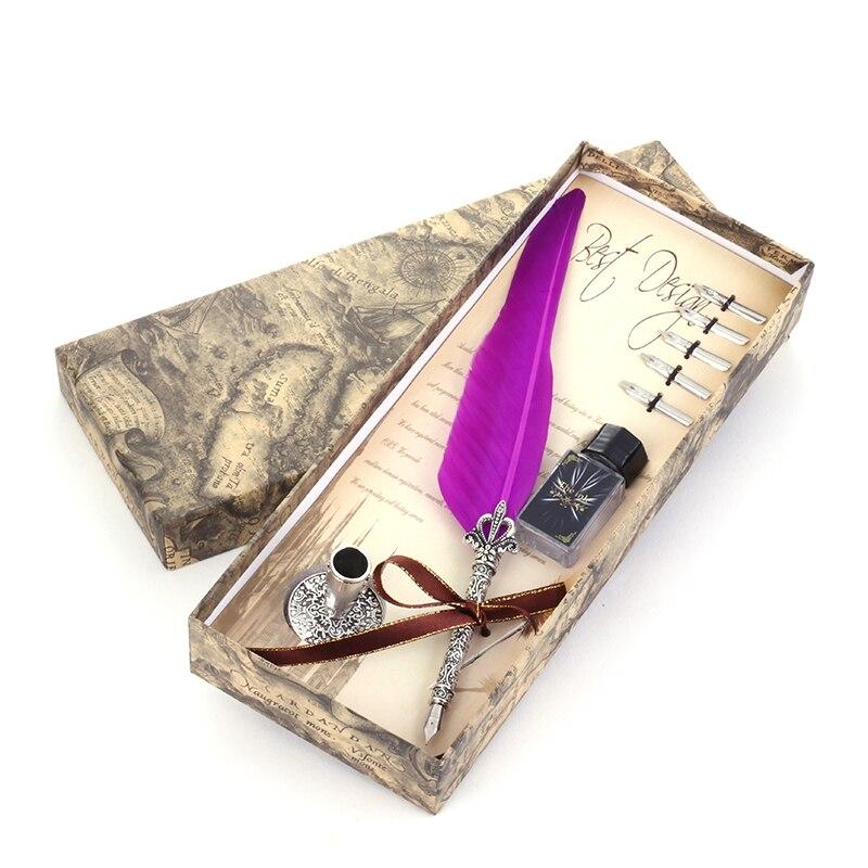 Caliente! hermoso Color plumas de ganso pluma Vintage Dip escribir bolígrafos de tinta de papelería regalo 10 Color pluma