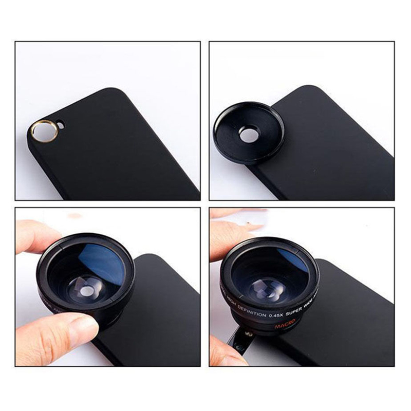 2 in 1 37mm 0.45X HD Super Wide Angle Macro lens Camera Phone Lens + Back Case for iPhone 5 5S SE 6 6S Plus 7 7 Plus 8 8 Plus X