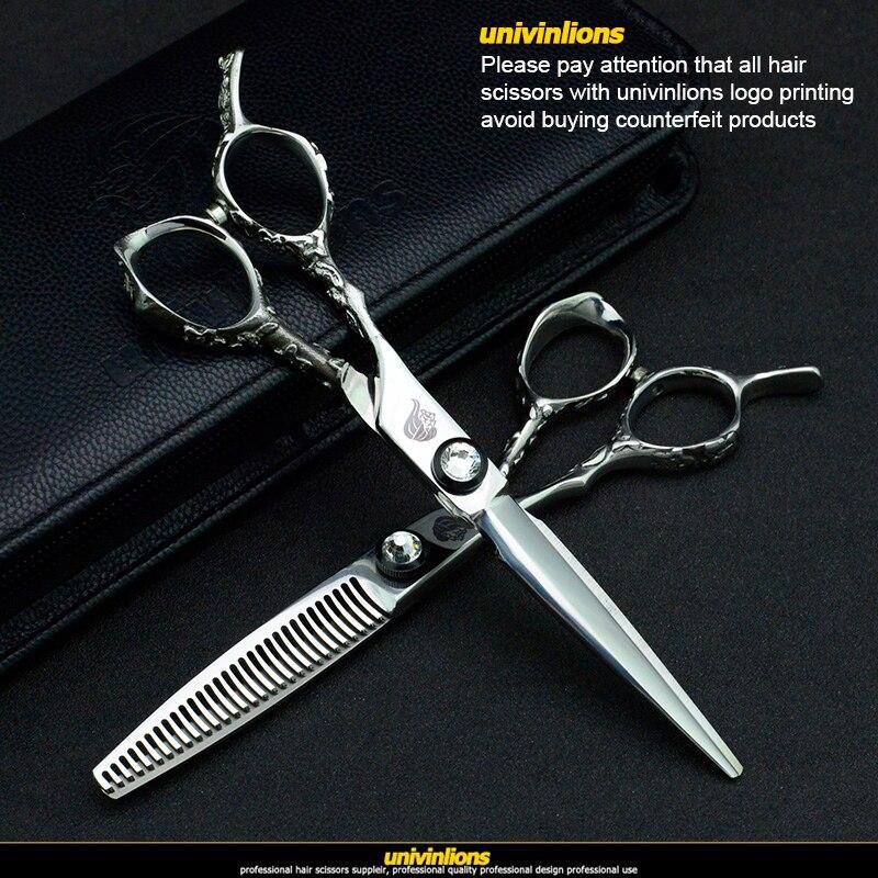 """Image 5 - univinlions 6"""" left handed hairdressing scissors left hand hair scissors for salon barber left cutting lefty thinning shears-in Hair Scissors from Beauty & Health"""