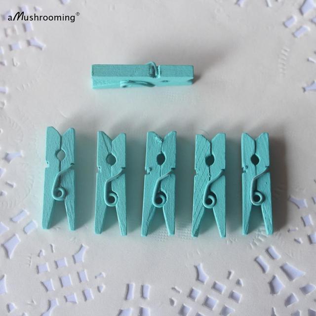 Mini Pegs pour vêtements en bois 50ct | Bleu massif, sacs de Bonboniere, pinces à linge en bois, Baby aque, Bar à bonbons, planificateur de jour