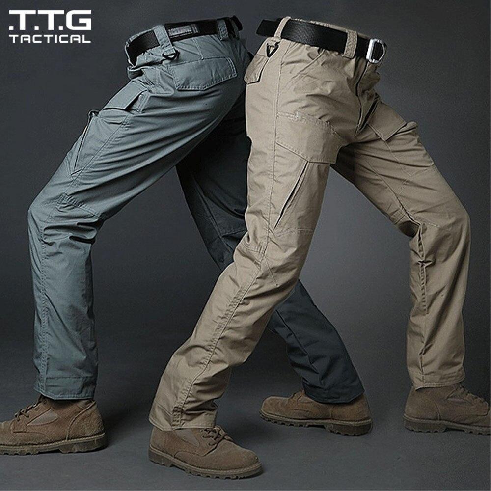 ФОТО Plus Size Men BDU Tactical Pants Durable Cargo CP Combat Trousers Outdoor Multi-Pocket City Urban Assault Pants Khaki Black