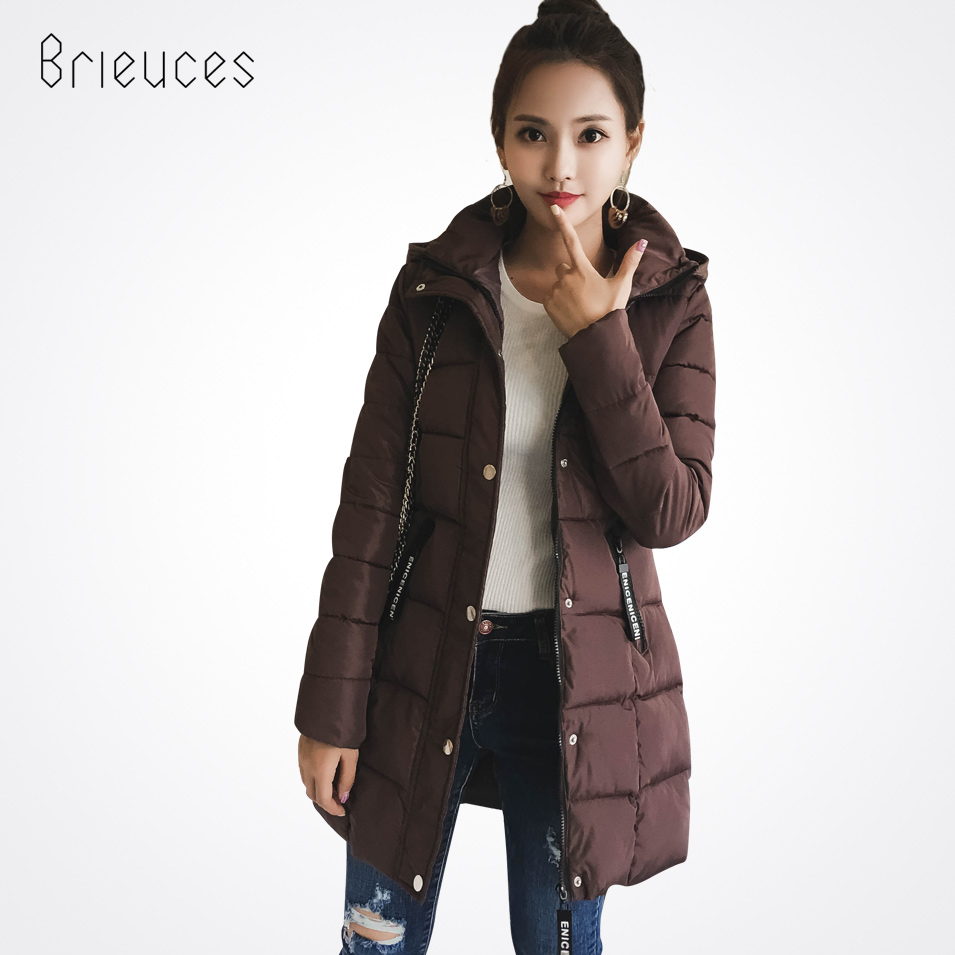 Brieuces new long solid hooded Single Breasted letter zipper Pockets winter thick jacket women plus size loose winter coat women plus size letter print hooded sweatshirt dress
