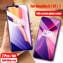 2Pcs Full Tempered Glass For Oneplus 6 6T 7 Glass Screen Protector 2.5D Anti Blue tempered glass For one plus 7 6 6t glass недорого