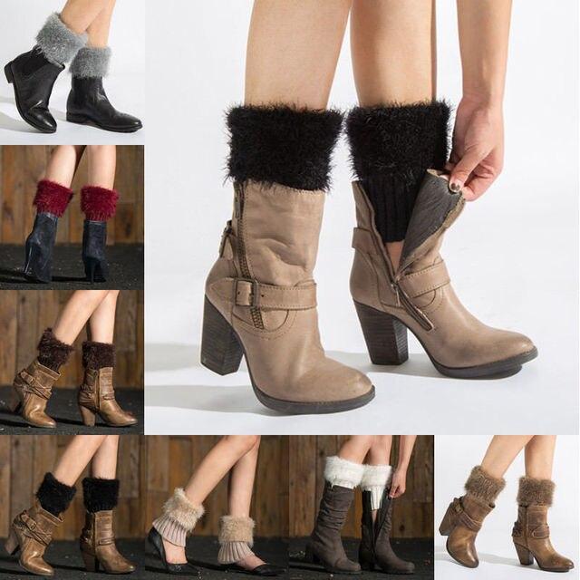 67963d1c036 Women Winter Warm Leg Warmers Lady Crochet Knit Fur Trim Leg Boot Socks  Toppers Cuffs