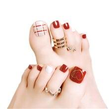 24 шт летние накладные ногти с дизайном «любящее сердце» стразы
