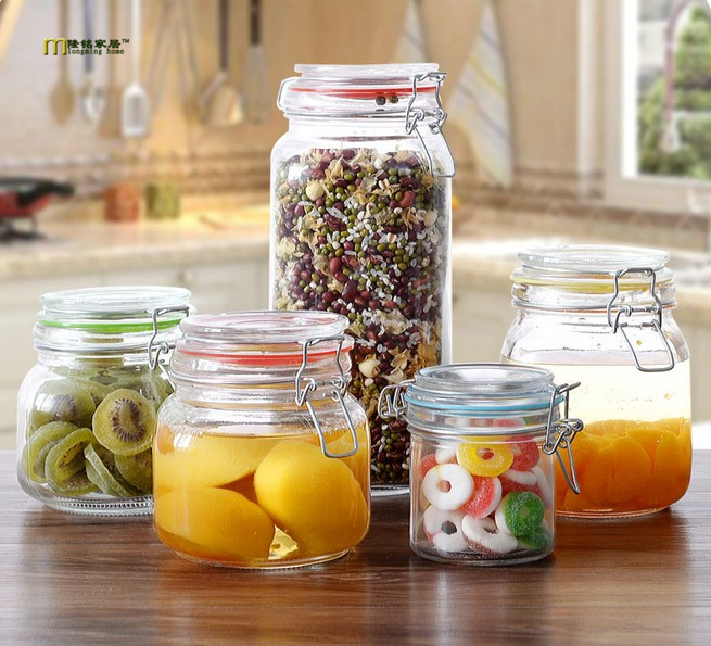 1PC LONGMING HOME glass bottles sealed cans Storage cans of whole grains ferment bottle milk cans candy jar LF 050
