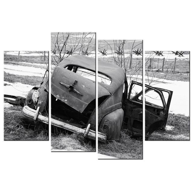 4 Panel Canvas Wall Art Old Classic Vintage Car At Rural Junkyard In Winter  Painting Black