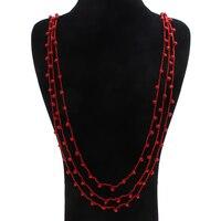 YYW New Bohemia Tuyên Bố Thời Trang Charms 100% Tự Nhiên Đá San Hô Đỏ Áo Len Dài Đính Cườm Dây Chuyền & Mặt Dây Phụ Nữ Fine Jewelry