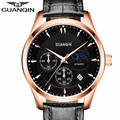 GUANQIN Luxury Brand Watch Men Chronograph Luminous Clock Male Sport Wristwatch Leather Strap Quartz Watch Relogio Masculino