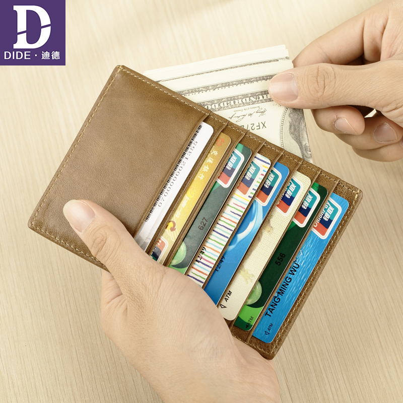 DIDE Genuine Leather Men Wallet Male Short Multifunction Card Holder Coin Purse Money Men's Purse Wallet thin Passcard Pocket men wallet male cowhide genuine leather purse money clutch card holder coin short crazy horse photo fashion 2017 male wallets
