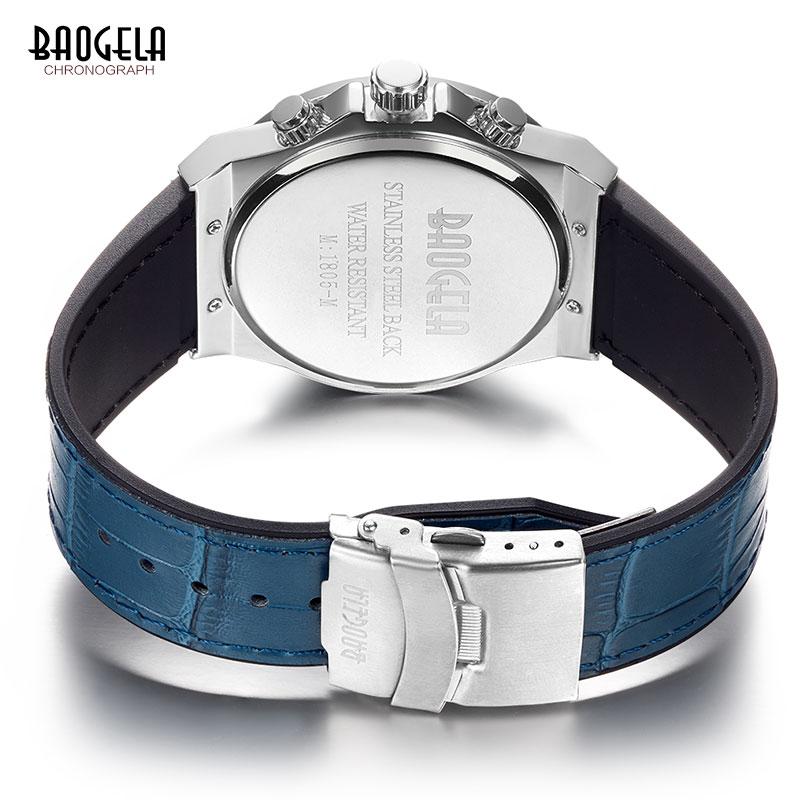 BAOGELA Men's New Quartz Watches 2019 Waterproof Chronograph Casual Luminous Wrist Watch Man Leather Strap Relogios 1805 Blue