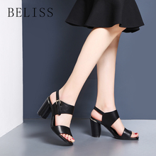 BELISS new fashion shoes woman summer buckle strap women sandals square heel sexy ladies genuine leather open toe S3