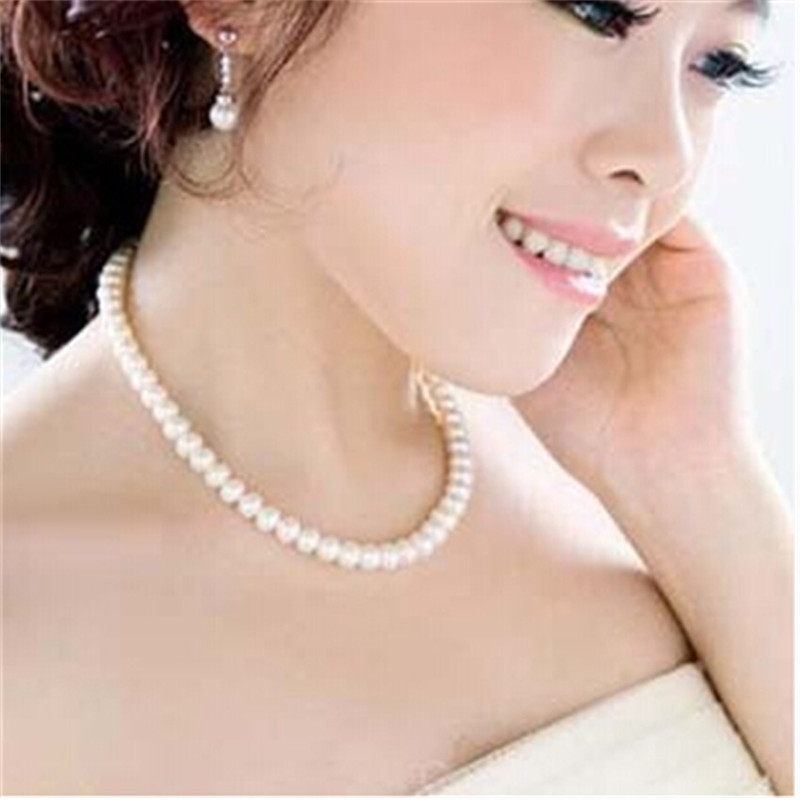 Delicate jewellery Clavicle Chain chocker simulated big pearl necklace bridal jewelry Wo ...