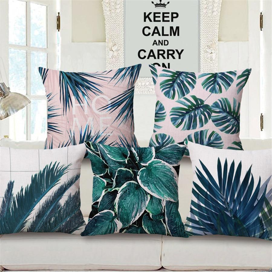 Lino de algodón Planta verde Hojas de palma Sofá nórdico simple - Textiles para el hogar