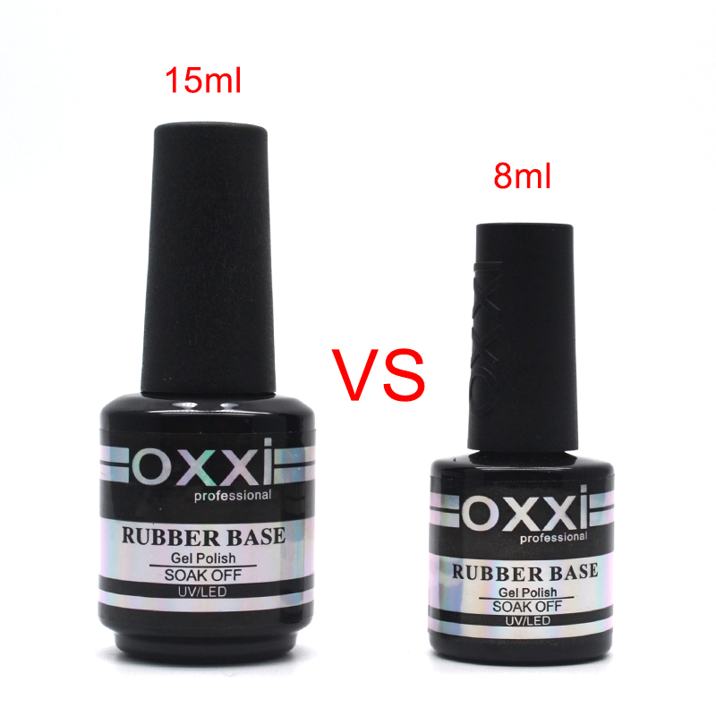 oxxi Latest 15ml Nail Rubber Base Coat Semi Permanant UV Varnish Primer for Nails No-Wipe Top Coat Nail Art Big Base and Top Gel 4