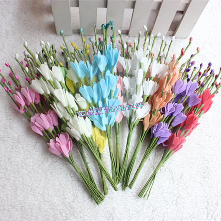20CM Artificial Spring Foam Flower Bouquet,Floral Branches,Wire Stem,Decoration For Wedding,Home Table,Garland Hair,Scrapbooking
