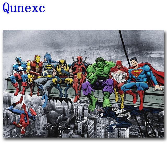 Qunexc Pop Culture Lunch Atop a Skyscraper Funny Art Silk Poster ...