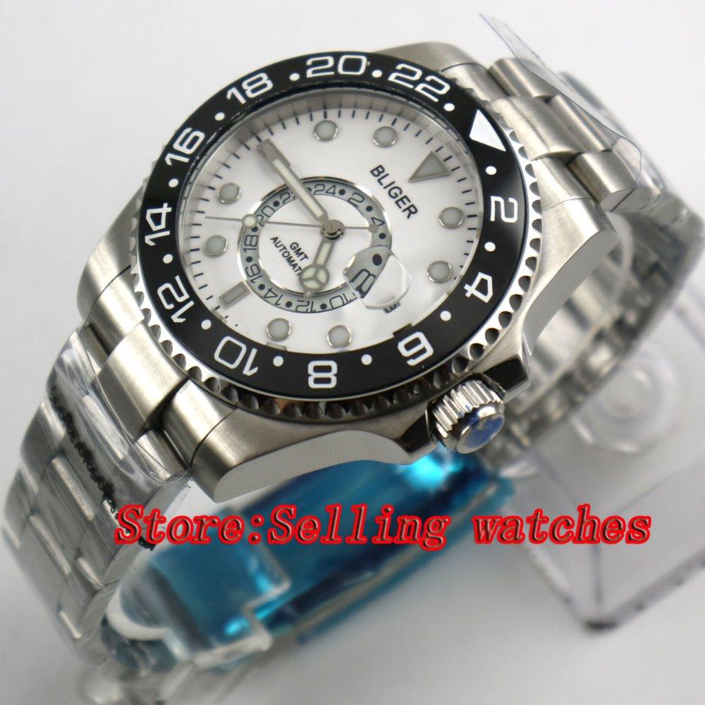 43mm Bliger Stainless Steel Case white Dial black Ceramic Bezel Luminous Mechanical Mens Wristwatch