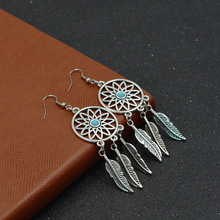 SUKI Korea Handmade Irregular Metal Big Hollow Round Circle Alloy Feather Tassel Drop Earrings for Women Girl Catching Monternet