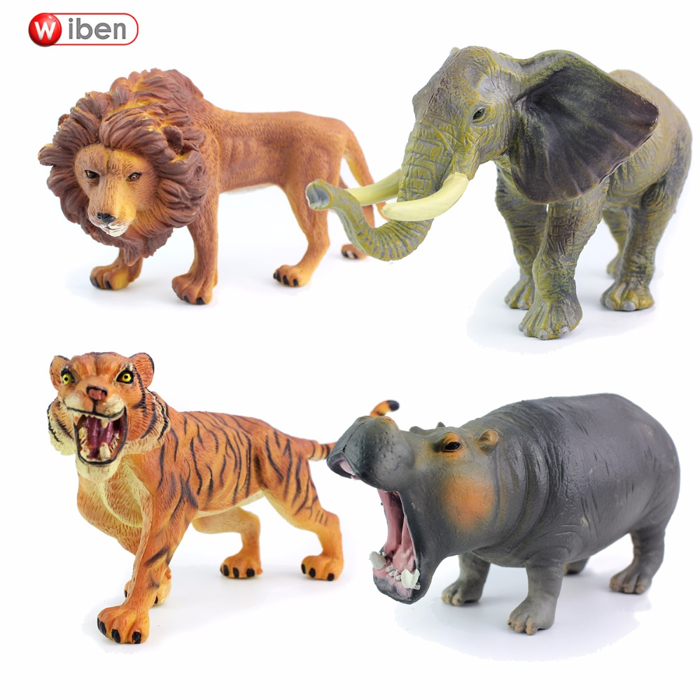 Wiben Elephant Hippo Tiger Lion Simulation Animal Model Action & Toy Figures Collections For Boy Gift simulation baby lion tiger lynx forest wild animals model figurine plastic toys home decoration accessories decor gift for kids