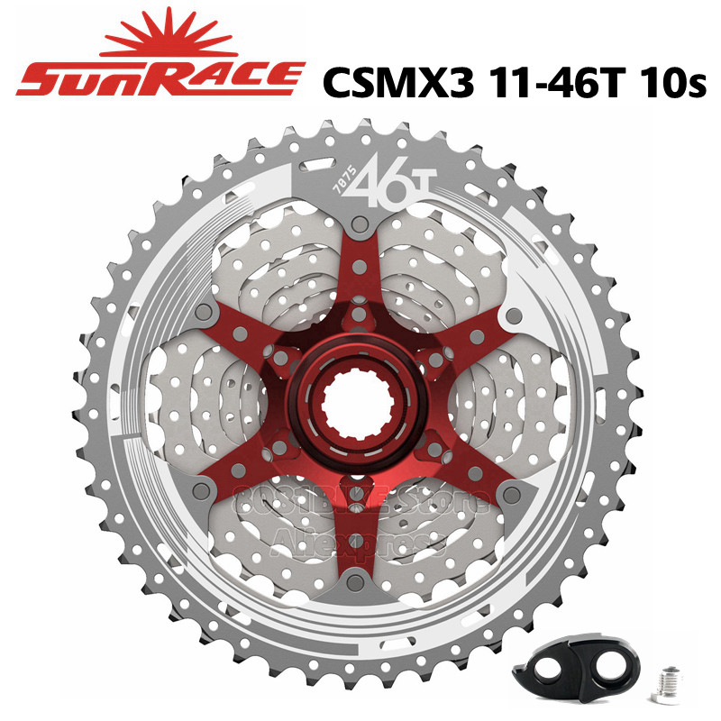 Sunrace 10-speed 11-46T cassette CSMX3 wide ratio MTB in Silver with rd extender