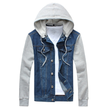 2017 New Fashion Brand Men's Hooded Jacket Casual Cowboy Men Jacket Tracksuits Denim Jacket Men Slim Fit Jeans Jacket Men M-5XL