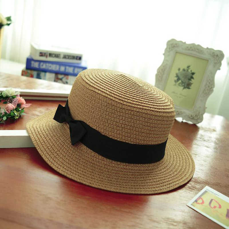 3b552d5f858a4 ... Fashion Parent-child sun hat Cute children sun hats bow hand made women  straw cap