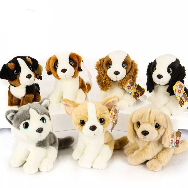 18cm Lifelike Big Eyes Dog Plush Toys Saint Bernard Chihuahua Husky