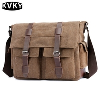 KVKY Men Canvas Messenger Bag High Quality Multifunction Shoulder Bags Vintage Crossbody Bag Men S Handbags