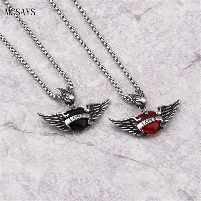 87dcc6e564f99 US $12.37 |MCSAYS Stainless Steel Punk Necklace Love Red Rhinestone Wing  Pendant Box Chain Silver Color Necklace Mens Jewelry Dope Gift 3GM-in  Pendant ...
