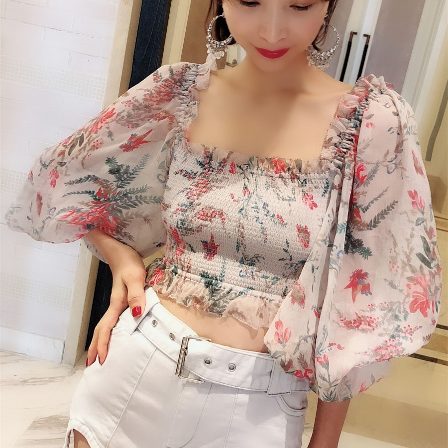 Women Square Neck Silver Bayou Shirred Cropped Top In Beige and Pink Silk Floral Print