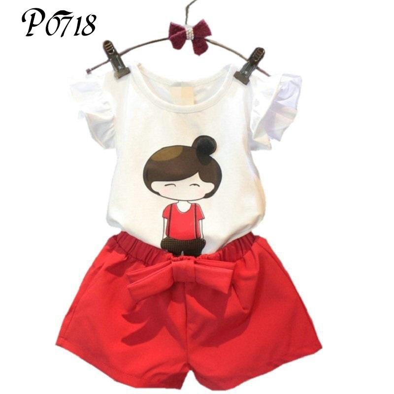 2018 Summer Style Baby Girls Clothing Set Cartoon T-shirt + Shorts Pants 2pcs Suits Children Clothes Outfits 2 3 4 5 6 7 8 Years girls baby long sleeve tops t shirt bib cartoon minnie 2pcs outfits set 1 5y