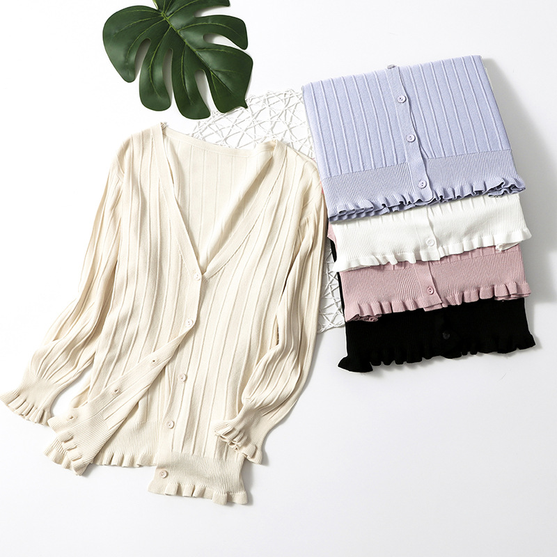 Silk Stretch Rib Women Ruffles V-Neck Knitted Casual Sweaters Cardigans Lady 3/4 Sleeve Knitting Outwear Cardigan Top For Female