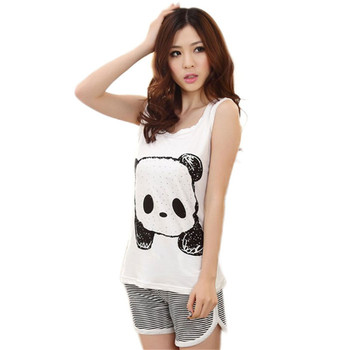 Cartoon Sleeveless Women Pajamas Casual Female Pajama Sets Home Sleepwear Cute Pyjamas Ladies Pijamas Suits pajamas