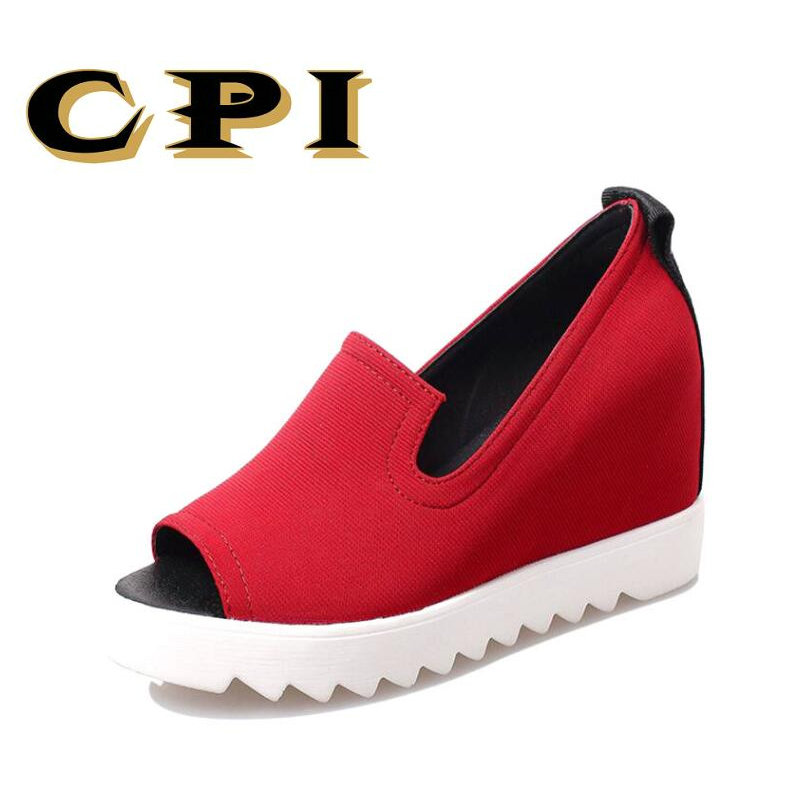 CPI Shoe Woman Platform Women Sandals Summer Wedge Thick High Heel Letter Open Toe Slip On Women's Shoes lightweight NX-036 vtota summer pep toe sandals women increased thick heel shoes woman wedge summer shoes back strap platform shoes for ladies