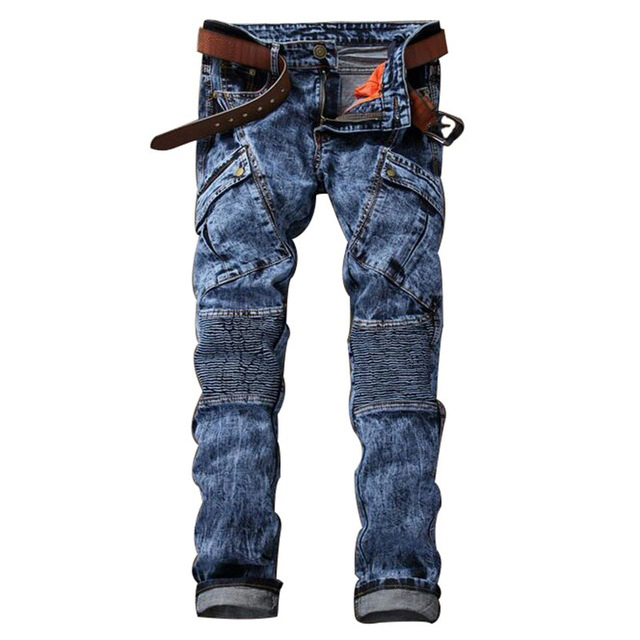 Moda Hombre Del Motorista Jeans Multi Bolsillos Slim Fit Plisado Denim Motocicleta Basculador Hombre Diseñador de la Marca de Carga Pantalones de Jean 995