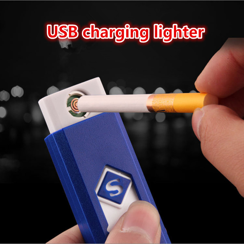 Creative small Rechargeable USB Windproof flameless electric Electronic charging Cigarette lighter Smokeless Super lighters man(China)