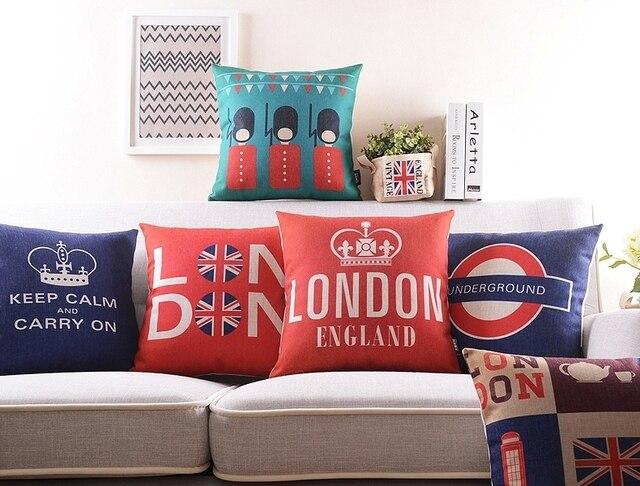 Estilo britânico London Underground Coroa Telefone Booth Guarda Real Capas de Almofada Decorativa Lençóis de Algodão Fronha Fronha