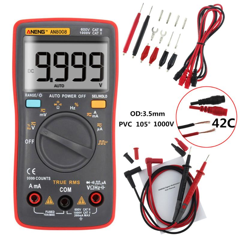 ANENG AN8008 Multimeter True-RMS Digital Multimeter 9999 Counts Square Wave Backlight AC/DC Current Voltage Ammeter an8008 true rms digital multimeter 9999 counts square wave backlight ac dc voltage ammeter current ohm auto manual tester probes