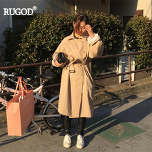 RUGOD 2019 Autumn Winter Turn-down Collar Loose Oversize Safari Style X-Long Lacing Double Breasted