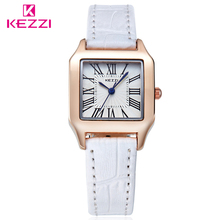 KEZZI Brand Popular Women Quartz Wristwatches Rectangle Dial Leather Strap Simple Lovers Couple Watch Relogio Feminino