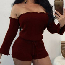 Women Bodysuit Knit Off Shoulder Romper Long Sleeve Bandage Rope Belt Drawstring Shorts Sexy Playsuit Bodycon Femme Clothes