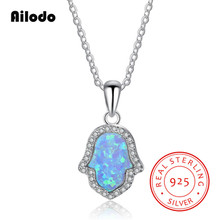 Ailodo Simulated Opal Hamsa Hand Genuine 925 Sterling Silver Pendant Necklace For Women Men Fashion Long Chain LD101
