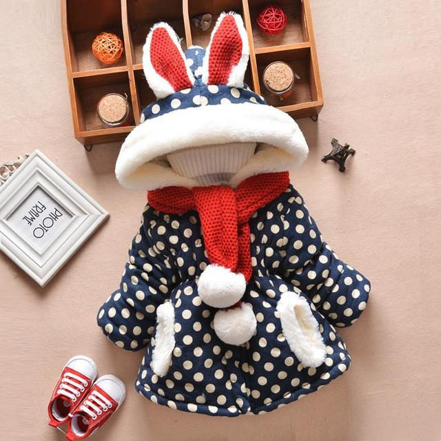 2 pcs baby Clothing and scarf baby winter outerwear thickening baby girl jackets wadded hooded trench baby cotton clothesack