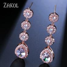 ZAKOL Band Wedding Jewelry Luxury Water Drop Earrings Sliver Color Cubic Zircon Earrings for Women Engagement FSEP624